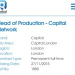 Job Opening: Head of Production at Capital Network